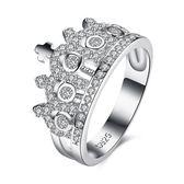925純銀鑲鑽戒指-時尚奢華皇冠造型情人節生日禮物女飾品73kz66【時尚巴黎】