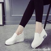 一腳蹬內增高小白鞋女懶人鞋春季女百搭韓版帆布鞋子女夏 瑪麗蓮安