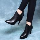 達芙妮沿薦高跟鞋女2020秋冬新款單靴裸靴尖頭短靴皮鞋細跟馬丁靴 果果輕時尚