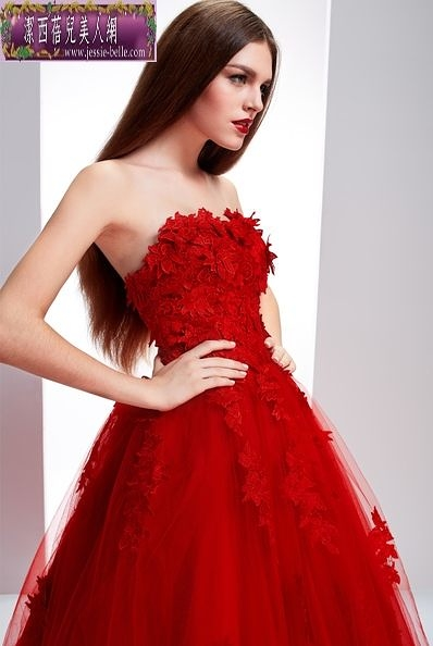 蕾絲抹胸小拖尾紅色婚紗新娘結婚禮服-isab003