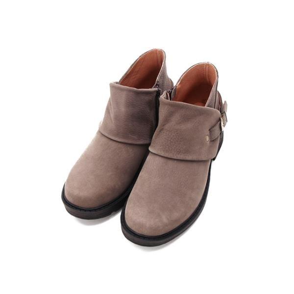 【南紡購物中心】WALKING ZONE(女)造型釦帶真皮低跟短靴 女鞋-灰咖(另有黑)