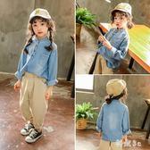 中大尺碼女童春裝牛仔襯衫2019新款4寶寶韓版外套兒童3-7歲時髦洋氣衛衣潮 GW81『科炫3C』