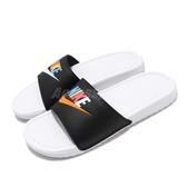 Nike 拖鞋 Benassi JDI Mismatch 白 黑 彩色Logo 男鞋 女鞋 運動拖鞋 【PUMP306】 CJ4608-071