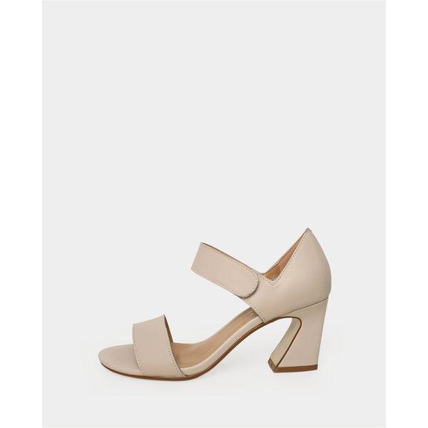 真皮涼鞋-R&BB羊皮*簡約氣質百搭粘帶高跟鞋-黑/杏色