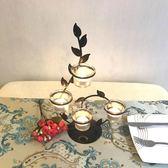 擺件 歐式鐵藝蠟燭台情人節浪漫創意家居燭光晚餐婚慶燭台裝擺件飾品JD 智慧e家