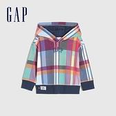 Gap男幼童 Logo格紋運動連帽休閒上衣 740990-彩色格紋