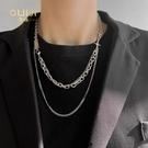 疊戴項鍊B嘻哈街頭潮人毛衣鍊中性質感疊戴雙層鈦鋼項鍊男歐美風冷淡風鍊 晶彩