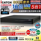 【CHICHIAU】H.265 16路800萬 AHD TVI CVI 5MP台製iCATCH數位高清遠端雙硬碟款監控錄影主機