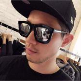 現貨-韓版ulzzang時尚百搭太陽眼鏡潮男女大方框箭頭太陽眼鏡時尚彩膜眼睛復古反光白水銀墨鏡 15