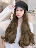 假髮帽 假髮帽子一體時尚女八角帽秋冬帶頭髮帽子韓版潮百搭可拆卸長卷髮 suger