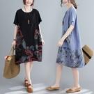 棉綢文藝風拼接飄逸洋裝-大尺碼 獨具衣格 J3692