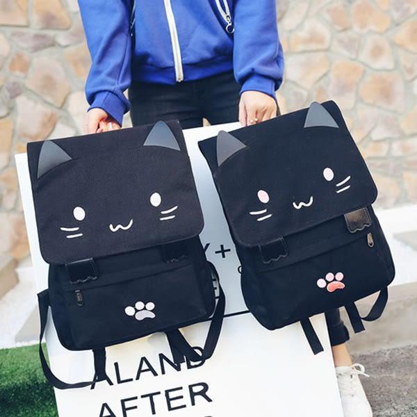 韓版貓咪圖案旅行包雙肩包