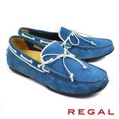 【REGAL】手工磨砂皮歐式帆船鞋 水藍(954HR-BUSS)