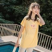 《KG0803-》高含棉質感刺繡冰淇淋印花長版短袖上衣 OB嚴選