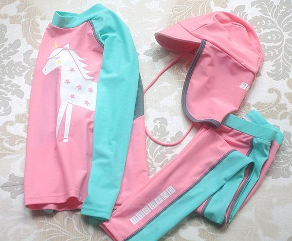 【雙12】全館85折大促兒童游泳衣男女童水母女孩分體沖浪服三件套