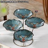 歐式干果盤家居客廳茶幾創意裝飾品多功能紙巾盒三層家用陶瓷果盤 - 風尚3C