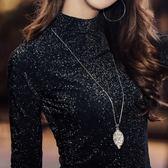 打底衫女長袖亮絲T恤秋冬純色金銀絲網紗上衣修身半高領蕾絲衫潮