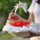 結婚花童假花現場韓式婚禮手提花瓣花籃編織撒花籃子婚慶陪嫁用品 艾莎嚴選