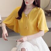 清倉$288 韓國風名媛優雅蝙蝠袖雪紡衫襯衫短袖上衣