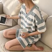 韓版睡裙女夏季純棉寬鬆加大碼條紋短袖家居服胖MM可外穿孕婦睡衣 東京衣秀
