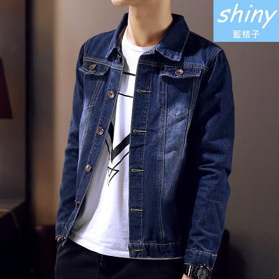 【Y113】shiny藍格子-牛仔裝扮.春秋潮流韓版修身休閒牛仔外套