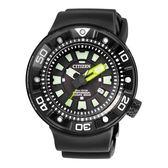 CITIZEN PROMASTER潛水錶時光動能腕錶/黑x橡膠/BN0177-05E