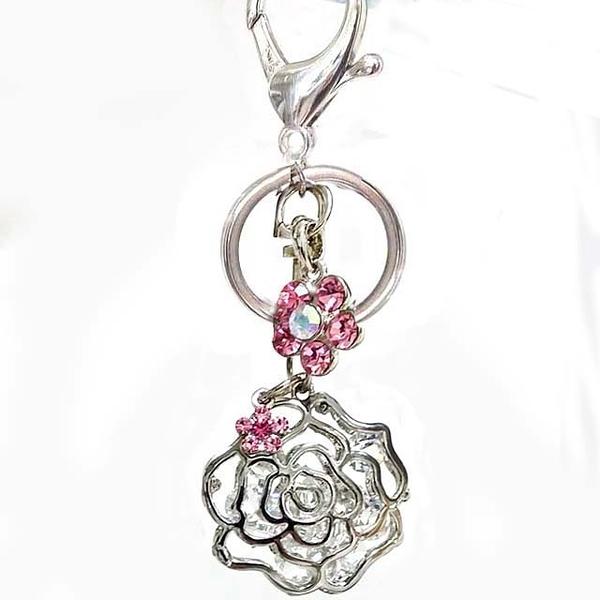 閃亮立體玫瑰花與水鑽花包包掛飾鑰匙圈