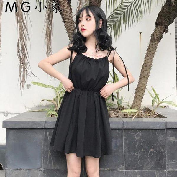 連身裙-韓版高腰顯瘦露肩無袖連身裙 MG小象