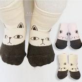 韓國拼色貓咪兔子止滑短襪 童襪 動物襪