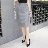 韓版2019春夏季新款黑白格子包臀中長款過膝半身裙子女士大碼包 潮人女鞋