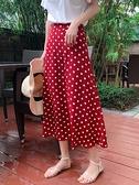 窄裙 早春新款紅色波點雪紡a字半身裙女夏秋中長款白色包臀小個子 秋季新品