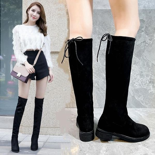 長靴 高筒靴女騎士靴不過膝顯瘦高跟長靴女冬加絨粗跟馬丁靴布靴中靴子 卡洛琳