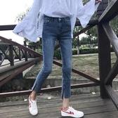 韓版緊身顯瘦褲子九分褲高腰牛仔褲小腳鉛筆褲女