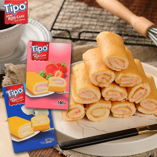 越南 TIPO瑞士捲 牛奶口味/草莓口味180g 【庫奇小舖】
