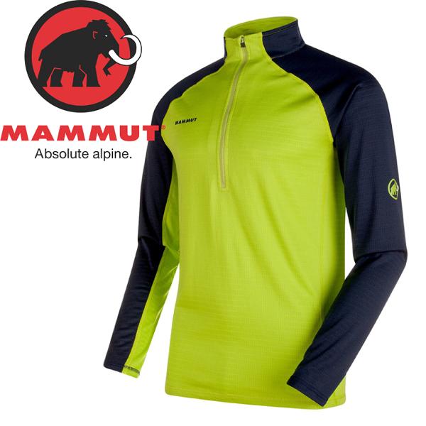 【MAMMUT 男Atacazo Z Pull保暖排汗半門襟 長袖上衣《綠/藍》】1041-05730/排汗衣/刷毛衣