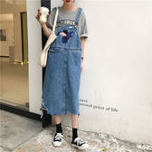 牛仔吊帶裙 連身 小飛象 洋裝 長裙 背心裙 牛仔裙 刺繡 可愛 卡通 大象 刷破 顯瘦 韓國 NXS
