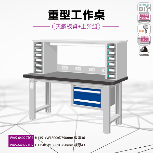 天鋼 WAS-64022TH7《重量型工作桌-天鋼板工作桌》上架組(吊櫃型) 天鋼板 W1800 修理廠 工作室 工具桌
