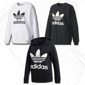 『現貨折卷後1999』CLASSICK adidas Originals sweatshirt 三葉草 黑 白 大學t 帽T 運動 休閒 女 BP9494