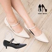 [Here Shoes]2色 淑女基本款 氣質小性感 環扣低跟細跟鞋 瑪莉珍尖頭包鞋 ◆MIT台灣製─AA701