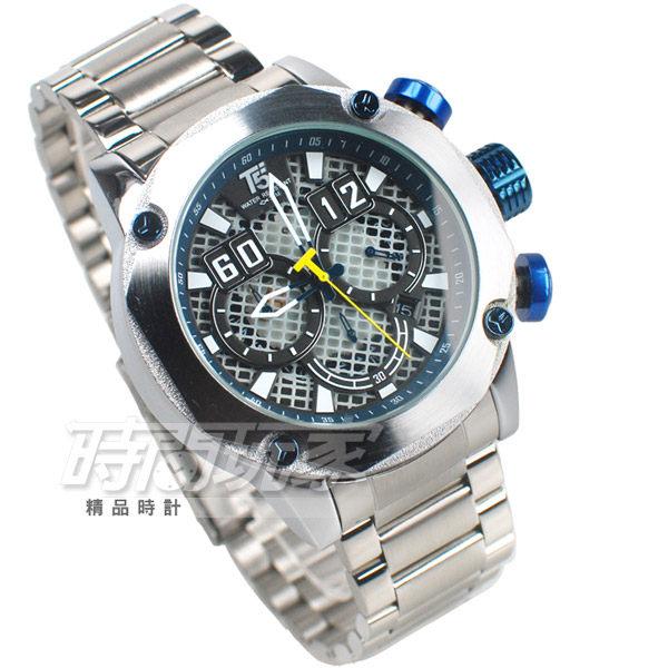 T5 sports time 粗曠 個性型男 三眼計時手錶 熟男Look 計時碼錶 防水 日期視窗 H3657藍