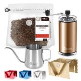 CoFeel 凱飛鮮烘豆哥斯大黎加征服者中深烘焙咖啡豆半磅+手搖磨豆機+細嘴壺+專利咖啡架(SO0063XL)