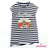 【SHOWCASE】條紋動物刺繡縫珠斜擺長版上衣(白)