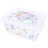 小禮堂 雙子星 透明拿蓋收納箱 堆疊收納箱 塑膠箱 整理箱 雜物箱 (藍 滿版) 4550337-36010