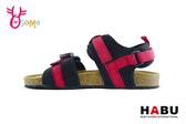 HABU哈布 中大童涼鞋 透氣布調整扣帶休閒涼鞋 I6901#紅色◆OSOME奧森鞋業