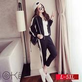 東京酷玩黑白配色俐落休閒運動套裝 L-5XL O-Ker歐珂兒 151139-C