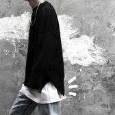 黑衣  內搭神器長袖t恤男打底衫素色秋裝純棉寬鬆簡約 伊蒂斯女装