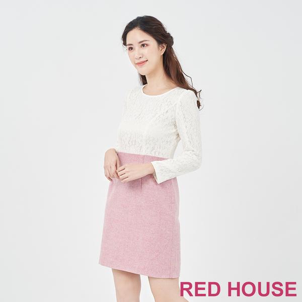 RED HOUSE-蕾赫斯-蕾絲拼接羊毛洋裝(粉色)