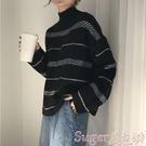 毛衣 慵懶風毛衣女寬鬆外穿2020秋冬韓版百搭日系半高領條紋套頭針織衫 suger