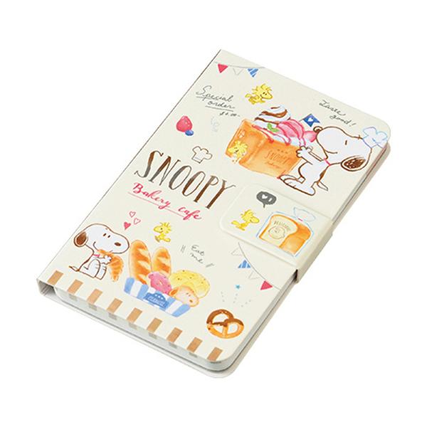 Marimo 日本製磁扣側翻手機殼造型便條本 SNOOPY 麵包店系列 米_FT17452