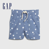 Gap 嬰兒 柔軟印花鬆緊休閒短褲 577009-淺麻灰